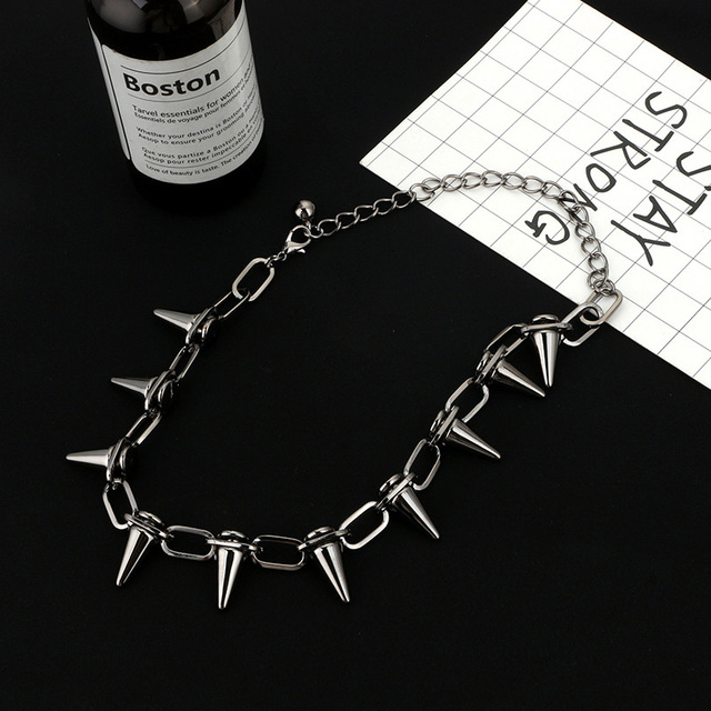 Rivets CBB material Chokers Punk Goth Handmade Choker Necklace Silver Spike Rivet Necklace EMO Rock Gothic Chocker 4