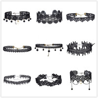 9 Pcs/Set Women Jewelry Choker Black Lace Choker Necklace Set Wide Velvet Collar Necklaces Heart Charms Hollow Out Flower ZH72