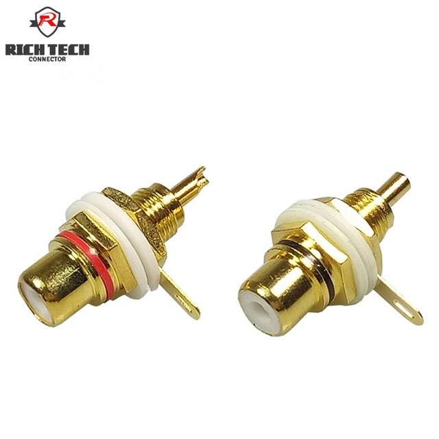 Conector RCA de plástico blanco chapado en oro, 50 Uds., adaptador de Panel RCA, toma de Audio para chasis, mampara con tuerca, terminal de copa de soldadura