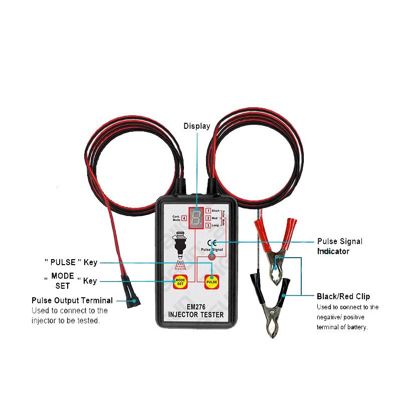 Dell'iniettore di combustibile Tester Automotive Analizzatore di Sistema di Pompa Del Carburante 4 Modi di Impulsi Allsun EM276 Iniettore Manometro