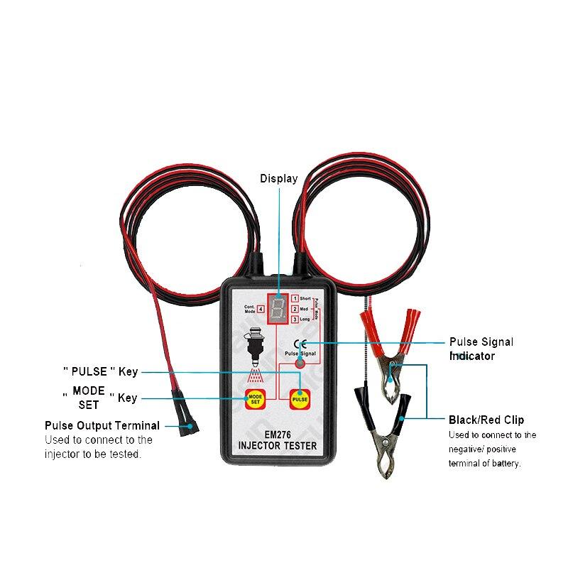 Kraftstoff Injektor Tester Automotive Kraftstoff Pumpe System Analyzer 4 Puls Modi Allsun EM276 Injektor Manometer