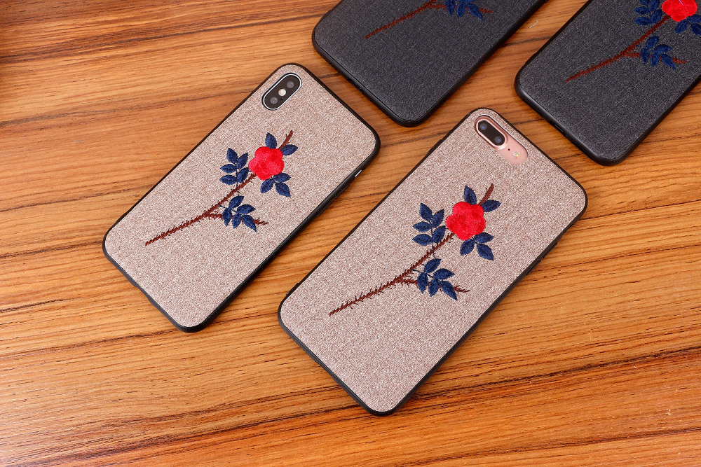 luxury Handmade embroidery 3D Blue Rose flower case for iphone 8 girl phone case for iphone x 6 6s 8 7 plus cover for iphoneX in Fitted Cases from Cellphones Telecommunications