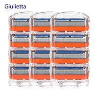 Giulietta 5 слоев бритвенные лезвия подходят для мужчин совместимый Gillettee Fusione Бритвы Лезвия подходят для мужчин достаточно острые 12 шт./кор.
