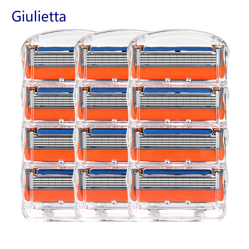 Giulietta 5 Layer Shaver Razor Blade Fit Men Compatible Gillettee Fusione Razor Blades Fit Men Sharp Enough 12pcs/Box
