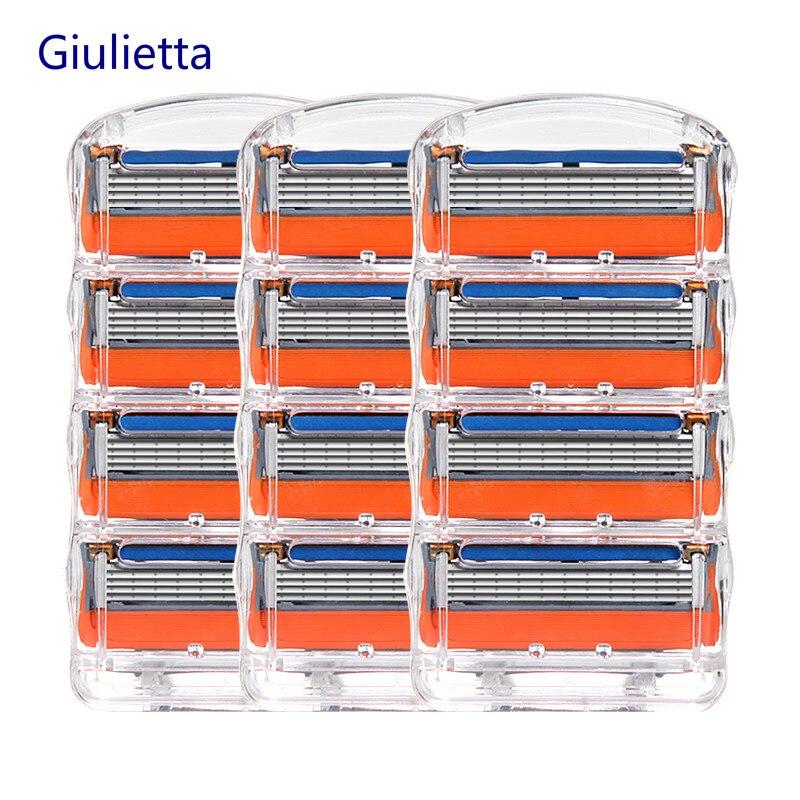 Giulietta 5 couches rasoir lame de rasoir pour hommes Compatible Gillettee Fusione lames de rasoir pour hommes assez pointues 12 pièces/boîte