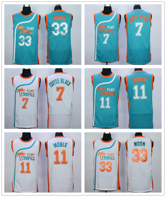 5c066705bb4 Jackie Moon Flint Tropics Semi Pro Movie Basketball Jersey Stitched 33 Jackie  Moon Jersey Shirts Green White S-3XL Free Shipping