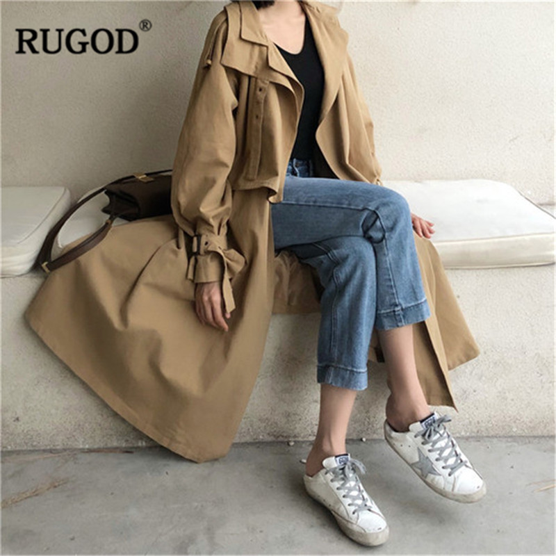 RUGOD 2019 New Elegant Spring Coat Women Fashion Irregular Long Sleeve Belted Jacket Khaki Coat Outwear