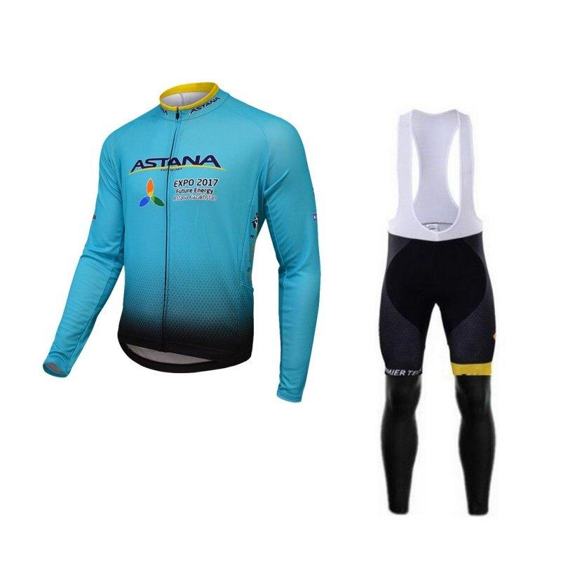 Hiver thermique polaire pro équipe astana 2017 Ropa Ciclismo vélo maillot cyclisme maillot plus chaud séchage rapide vélo vêtements vtt GEL