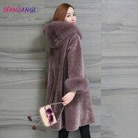 HANZANGL Women's Fur Coats Faux Fur Coat 2018 Winter Long 9/10 Sleeve Fox Fur Hooded Jacket Warm Long Overcoat 5 color S 3XL