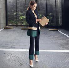 b8386a50c717 Mulheres Elegante Blazer Define 2018 Coreano Moda Primavera Blazer Terno  Conjuntos Patchwork Duas Peças OL Escritório de Manga C..