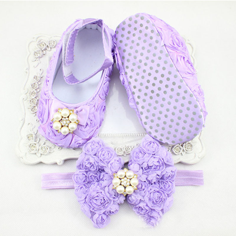 845aadba5 0 12 Months Newborn Baby Girl Shoes white baptism Toddler Infant Fabric  Booties Flower Headband Set Pearls Lace Princess KU31-in First Walkers from  Mother ...