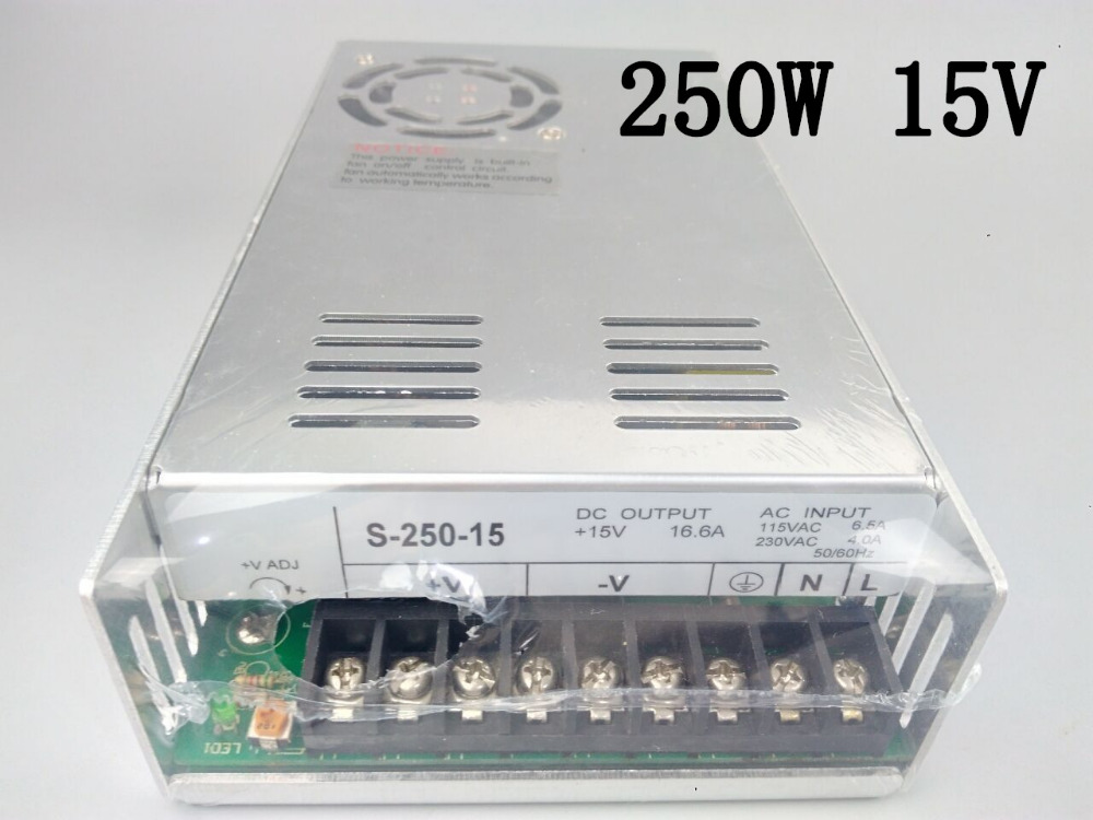 S-250-15 power supply 250w 15V 16.6A power suply 15v 250w ac to dc power supply unit ac dc converter