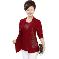 WAEOLSA Middle Aged Woman Sequined Fake 2 Piece Blouses Red Green Faux Twinset Tops Women S