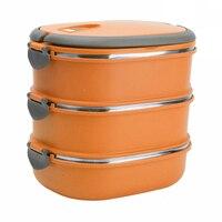 Aislamiento Térmico Caja de Almuerzo Contenedor de Almacenamiento de Alimentos de Acero Inoxidable Portátil Caja de Bento Con Mango, 3 Capas de Color Naranja