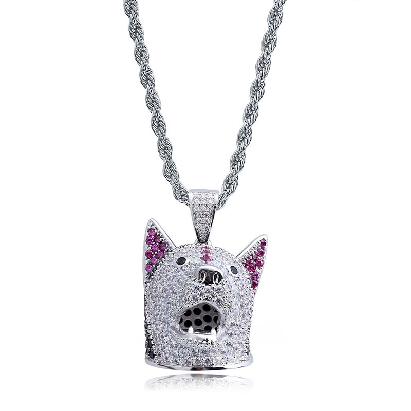 Copper Cubic Zircon Hip Hop JewelryDog head Pendant Necklace Stainless Steel Chain Iced Out Chain Pendants dropshipping