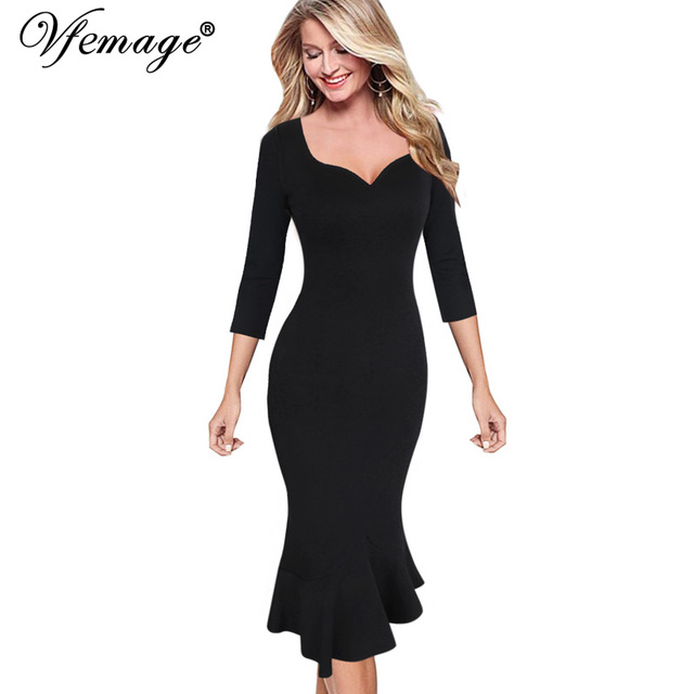 Vfemage Womens Sexy Elegant Vintage Pinup Cocktail Party Stretch Bodycon  Fitted Mermaid Fishtail Midi Mid- 27307db70