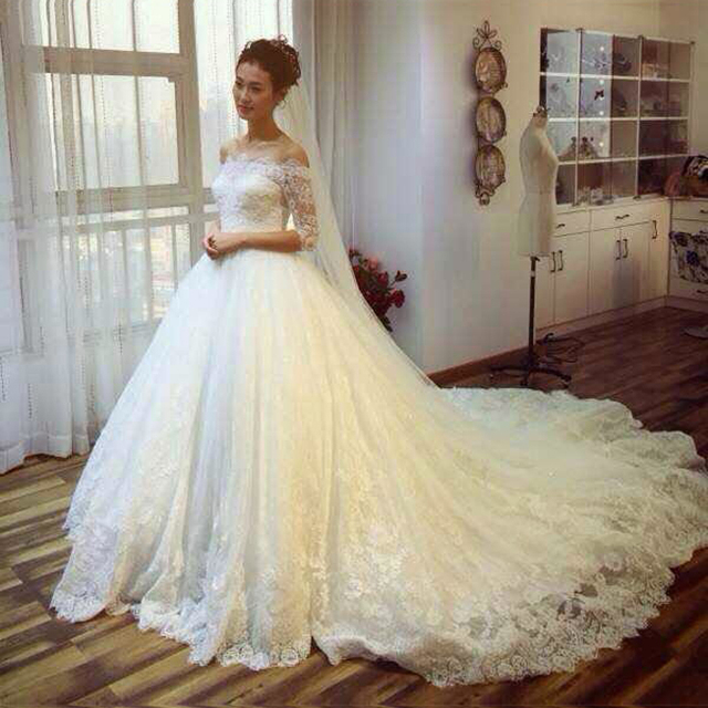Long Sleeve Cathedral Train Wedding Dresses