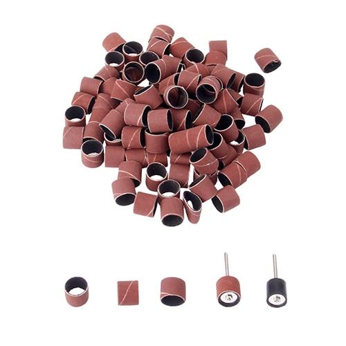 DRELD 100pcs Sanding Bands With 2Pcs Sanding Drum Mandrels For Dremel Rotary Tools Nail Drill Bits 3mm 1/8