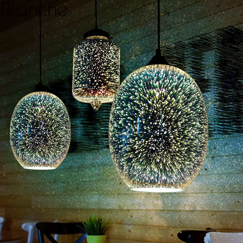 Modern 3D Stained Glass Pendant Lights Illusion Lamps Loft Industrial Hanging Lamp For Dining Room Lighting Fixtures Home Decor