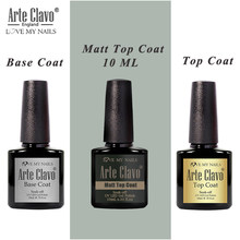 Arte Clavo Base & Top Coat Fosco Top Unhas de Gel Polonês Soak Off Primer 10 ml Transparente Verniz Gel Unhas art Manicure Rosa Nu(China)