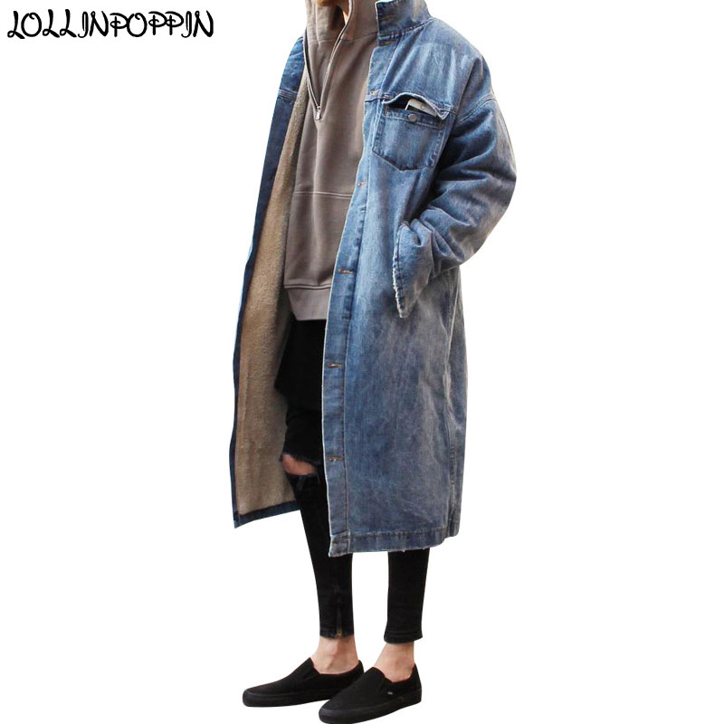 Long Style High Street Men Denim Trench Coat Retro Blue Denim Jacket Zippered Cuffs Single Breasted Fleeced Winter Jean Jackets