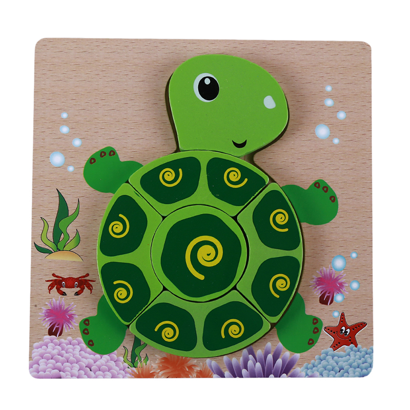 Wooden 3D Puzzle Educational Toys For Children Cartoon Animal Jigsaw Puzzle Games Intelligence Training Popular Toys
