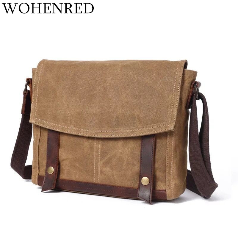 Men's Messenger Bag Vintage Canvas Leather Shoulder Laptop Bags Male Military College Crossbody Bag For School Bags Satchel 2017 national embroidery bags women leather shoulder bag lady college crossbody bag colorful strap girls messenger bags school