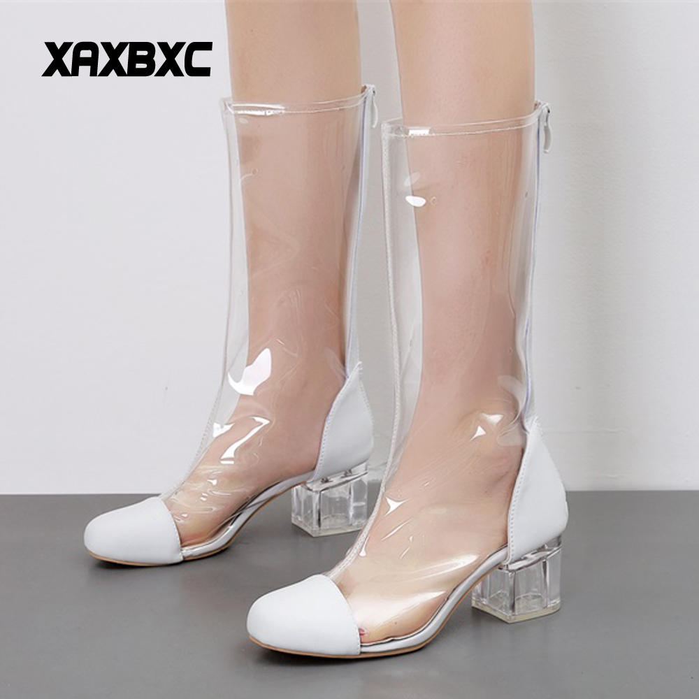 XAXBXC 2018 Spring Summer Mujer Crystal High Heels Long Boots Women Transparent Botas Ladies Party <font><b>Shoes</b></font>