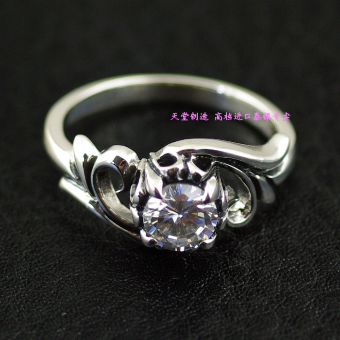 Zircon small tang grass 925 pure silver Women thai silver ring pinky ring