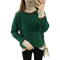 Autumn Winter Women Turtleneck Sweater Loose Korean Mixed Colors Long Sleeve Pullover Knitted Sweater Thicken women clothing