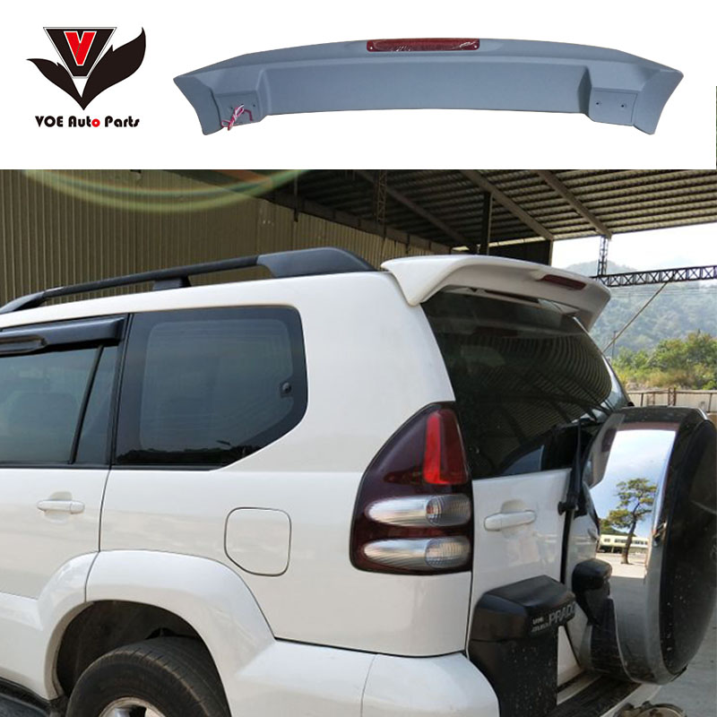 FJ120 4000 2700 ABS Plastic Material Unpainted Rear Wing Spoiler With LED For 2003-2009 Toyota Prado FJ120 4000 2700