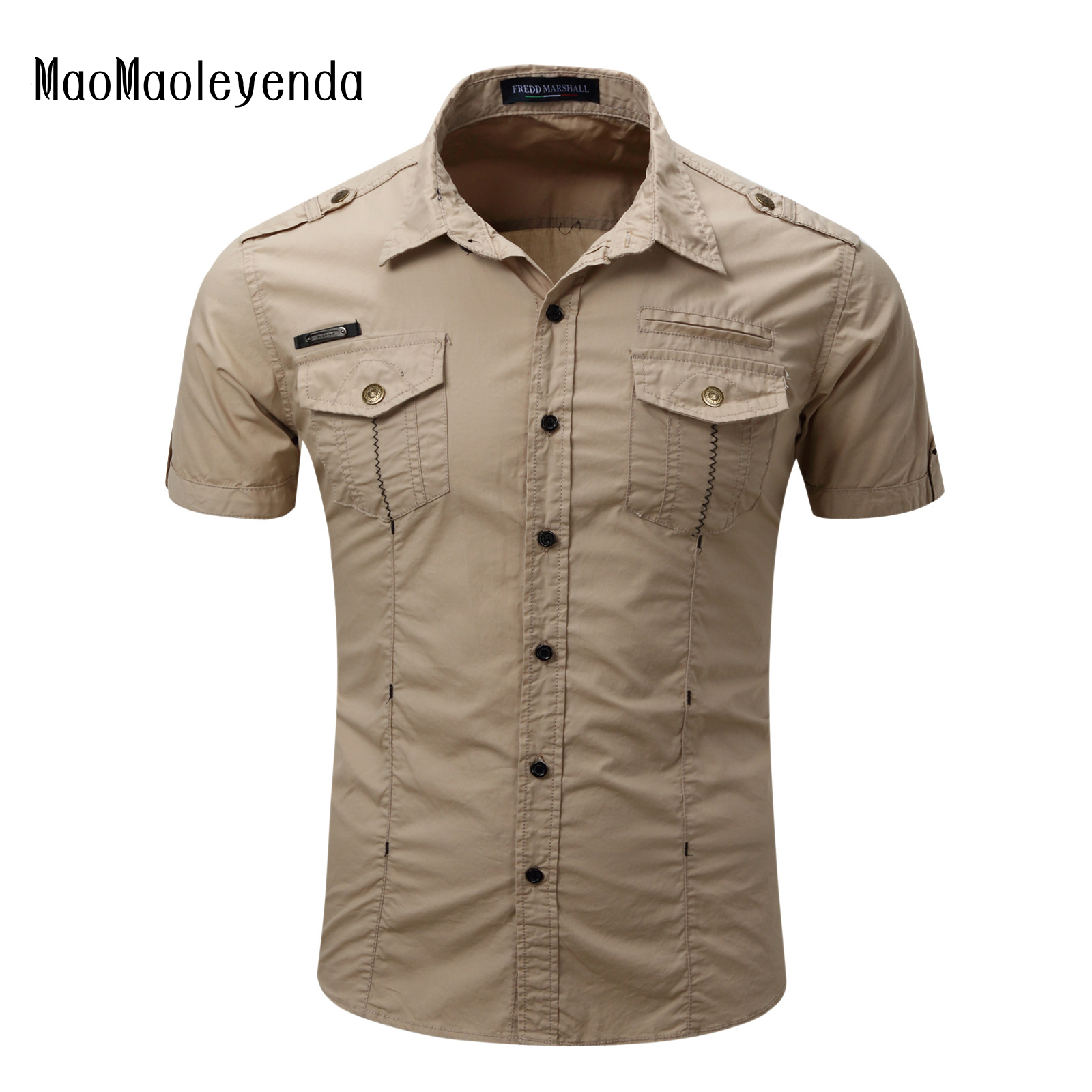 Shirt design china - 2017 New Men S Casual Epaulet Shirt Short Sleeves Mens Ruffled Cotton Shirts Fashion Pocket Decoration Male
