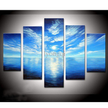 Hand-painted Hi-Q abstract landscape oil-painting on canvas--blue ocean white cloud 5pcs/set no framed