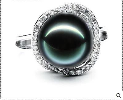 Éternel mariage femmes cadeau mot 925 Sterling réel naturel eau de mer perle perle tahitienne noir perle anneau 10mm envoyé son gi