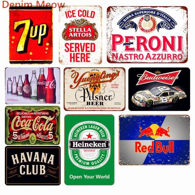 Đá Lạnh Đồ Uống 7Up Trang Trí Cola Peroni Vintage Kim Loại Tín Hiệu Bia Budweiser Mảng Bám Quán Rượu Thanh Sòng Bạc Kim Loại Trang Trí Treo Tường WY57