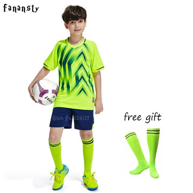 brand new db31a 97a39 Kids soccer jerseys football set children boys short sleeve uniforms  training sport suits 2019 new