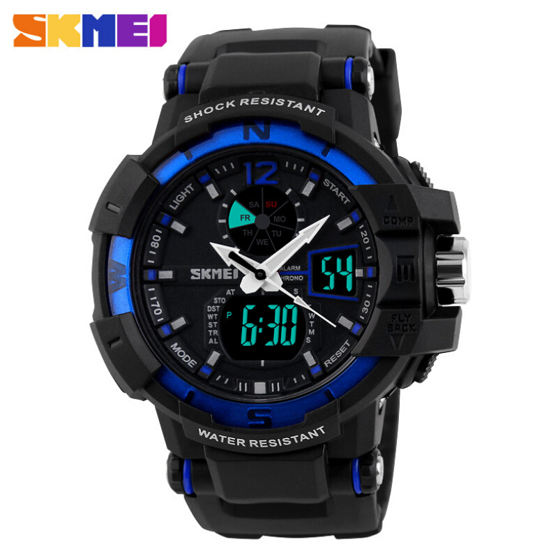 SKMEI Fashion Outdoor Men Sports Watches 2 Time Zone Digital Quartz Multifunction Waterproof Military Watch LED Dress Wristwatch цены