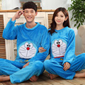 GOPLUS 2016 Autumn Winter Couple Flannel Doraemon Pajamas Set Cartoon Cat Lovers Long Sleeve Sleepwear Set Women and Men Pyjamas