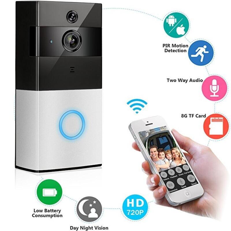 Wireless Wifi Video Doorbell 1.0MP HD Camera Night Vision Two-way Audio Intercom Waterproof PIR Motion Detection Doorbell 2 4ghz wifi smart video doorbell 720p hd camera with real time video and two way talk night vision pir motion detection f1442a