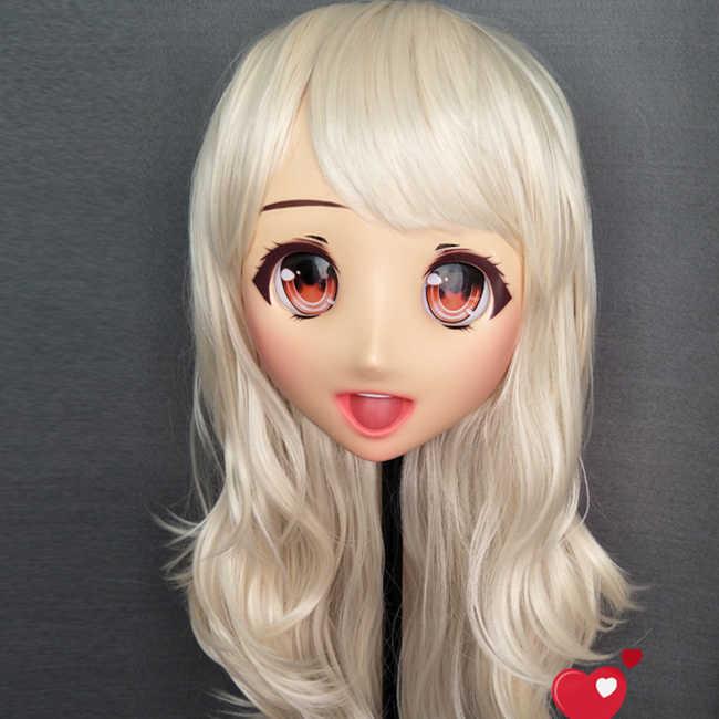 (Ouzha-05) Япония Аниме Kigurumi маски косплей Кигуруми персонаж мультфильма ролевые игры половина головы кукла Лолита маска с глазами и париком