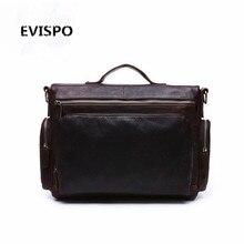 EVISPO 2017 Promotion Simple Dot Famous Brand Business Men Briefcase Bag Luxury Leather Laptop Bag Man Shoulder Bag bolsa maleta