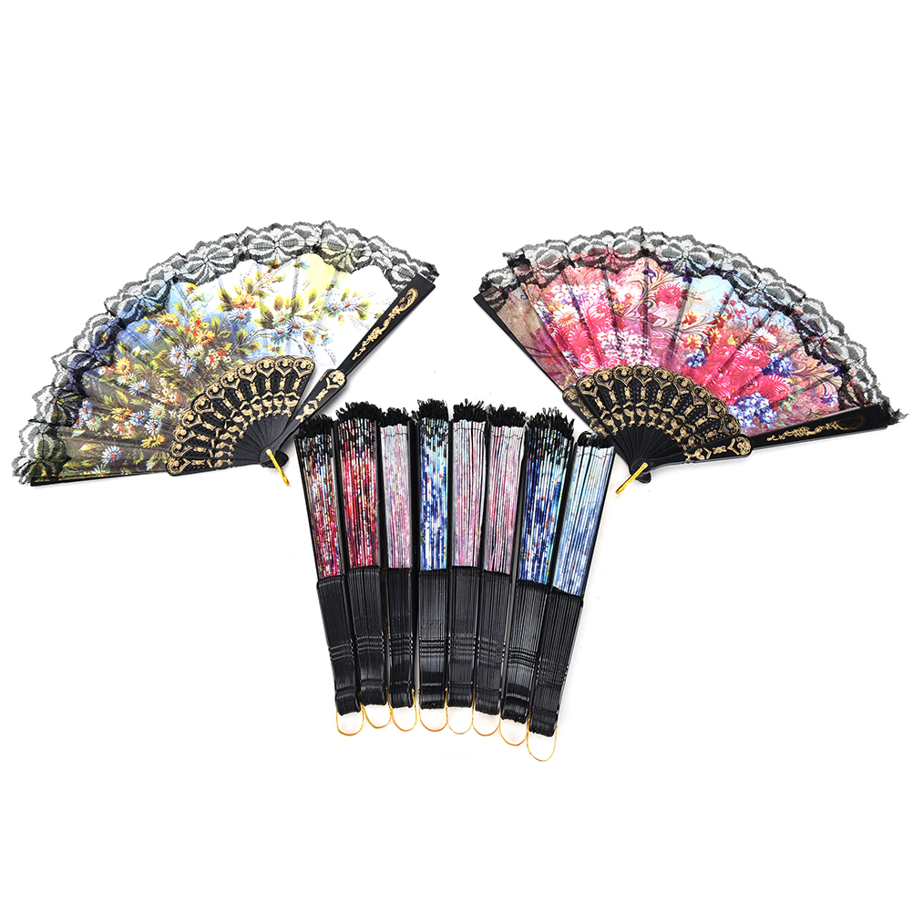 1 PCS Wommen Spanish Flower Folding Hand Fan Floral Fabric Lace Fans ...