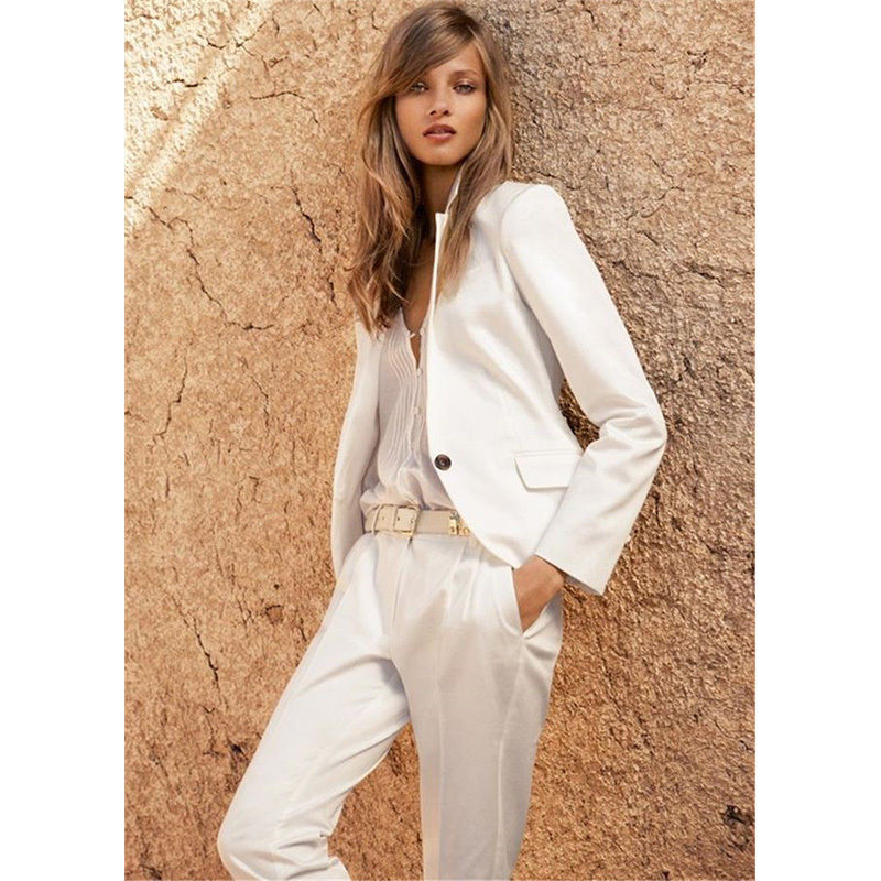 Custom Made Ivory Office Uniform Design Women Business Suits One Button Female Office Uniform B227