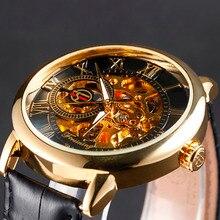 2016 mens menchanical relojes de primeras marcas de lujo relojes banda de cuero de Diseño de Moda de Oro Negro esqueleto reloj reloj caja de regalo
