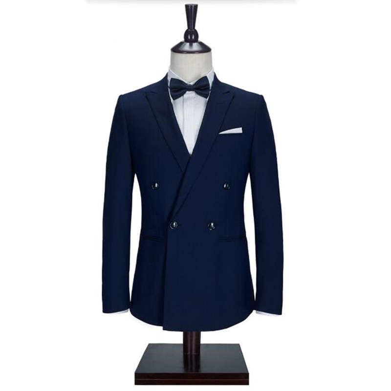 Navy Blue men font b suits b font jacket stylish Handmade groom Wedding tuxedos jacket font