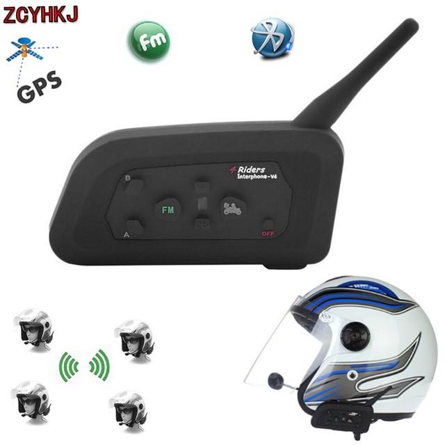 Nueva 1200 M V4 BT Múltiples Interfono Bluetooth FM de La Motocicleta de Auriculares Casco Intercomunicador Impermeable Auricular Comunicador 4 Pilotos