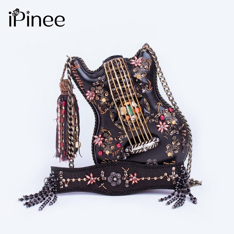 Ipinee 독점적 인 수제 기타 모양의 체인 크로스 바디 가방 여성의 국가 스타일의 절묘한 구슬 지갑 술 핸드백-에서숄더 백부터 수화물 & 가방 의  그룹 1