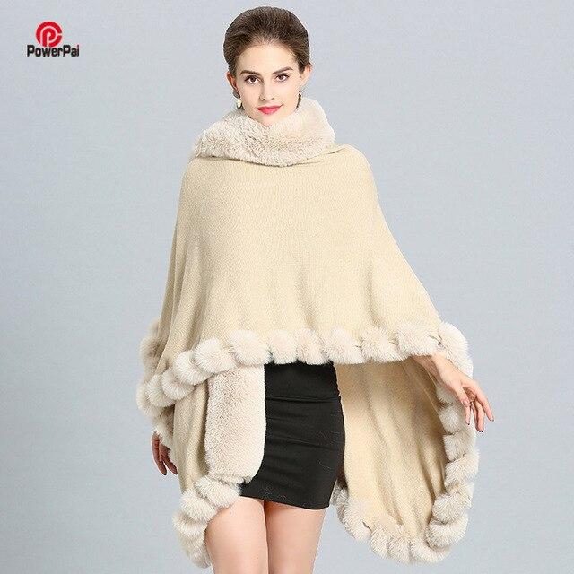 Artesanato de moda de Luxo Casaco de Pele De Raposa Cape Longo Grande Cashmere Faux Fur Sobretudo Manto Xaile Wraps Poncho Das Mulheres Outono Inverno