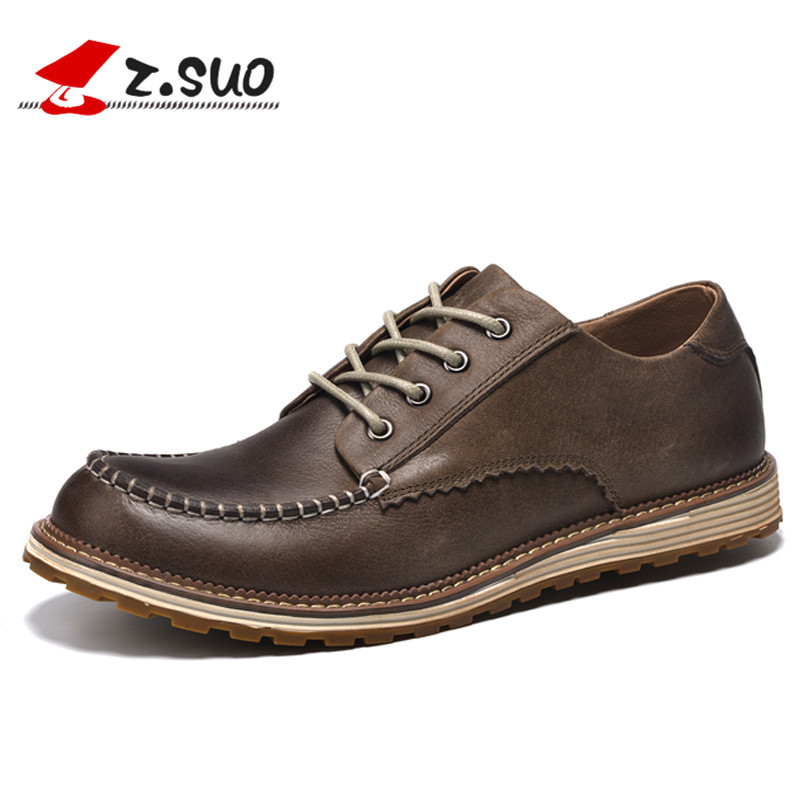 Z.SUO Autumn Winter Popular British Style Men's Casual Shoes Full Grain Leather Upper Rubber Outsole Male Leisure Shoes ZS16012 2016 new autumn winter man casual shoes sport male leisure chaussure laced up basket shoes for adults black