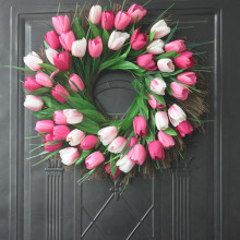 Tulip artificial flower Wreath Simulation Silk Flower Christmas wreath home wedding Decoration fake bouquet